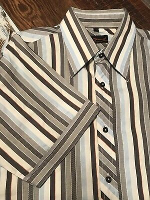 Ben Sherman Gray Striped Cotton Button Shirt Mens Medium.   cl