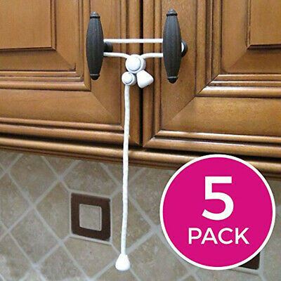 5PC Baby Safety Cabinet Door Lock Knobs Safety Cabinet Latches Home Safety Strap