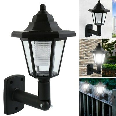 Solar Power LED Path Way Wall Landscape Mount Garden Fence Lamp Outdoor Light RF