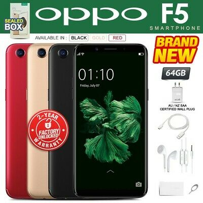 New & Sealed Factory Unlocked OPPO F5 Black Gold Red 64GB Android Smartphone
