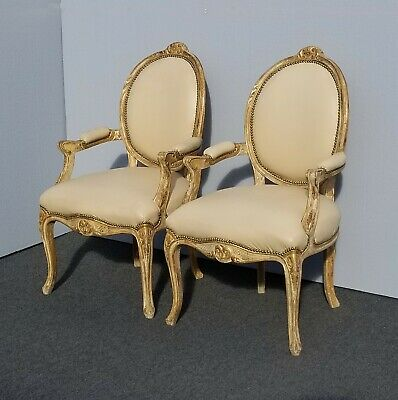 Pair Vintage French Louis XVI Rococo Ornate Gold White Crackle Accent Chairs