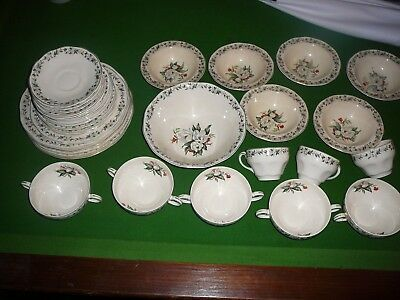 36 piece dinner set wedgwood england camellia bowl cups plates saucers cup