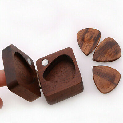 Walnut Wooden Guitar Pick Box Plectrum Holder Case Guitar Lover Musical Box Gift