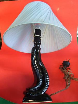 Retro  Table Lamp & Shade  Mid-Century  Black Blue  Vintage  1960's Collectables