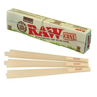 1 Pack Of 32 pcs RAW Organic Hemp King Size Pre Rolled Cones Rolling Paper