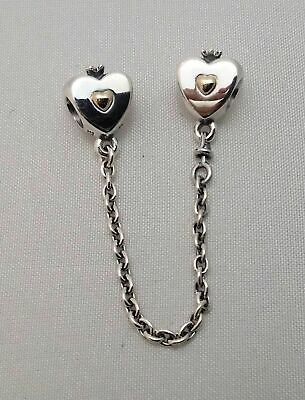 Genuine Pandora Heart & Crown Safety Chain 791878 with pouch