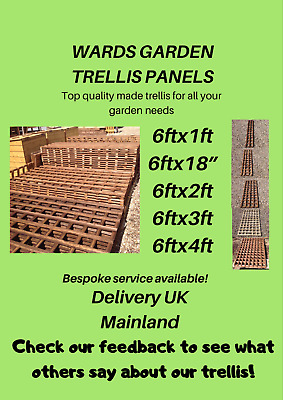 Heavy duty treated garden trellis PAY ONE LOT OF DELIVERY FOR ANY QUANTITY