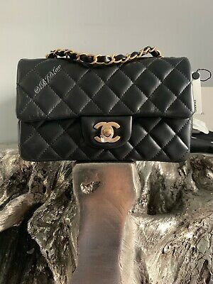 568263a10d57 Nwt Chanel Black Mini Classic Flap Bag Quilted Lamb Skin Gold Rectangle  France