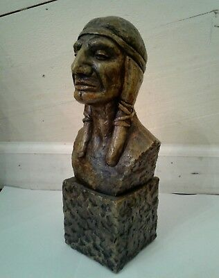 Antique Native American Bust Sculpture Statue Chief Indian Vintage Home Decor
