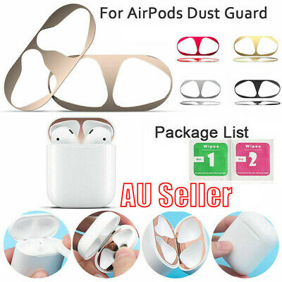 For Apple Airpods 2nd 1st Metal Dust Guard Protective Case Shell Skin Stickers G