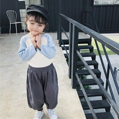 Girl Children Kids Linen Cotton Harem Capri Pants Loose Tapered Cropped Trousers