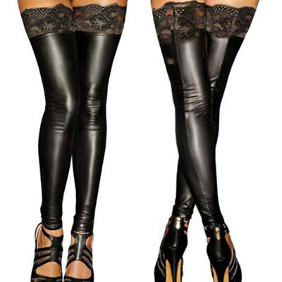 Sexy Women Wet Look Faux Leather Stockings Skinny Long Black Lace Floral Tights