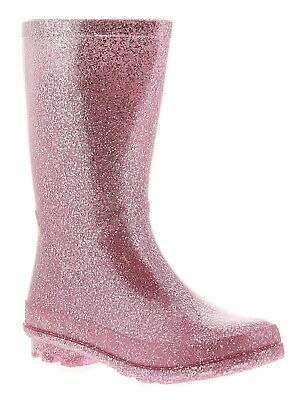 Miss Riot Glitzy Girls Kids Wellies Wellington Boots Pink UK Size