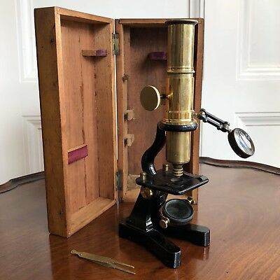 A Victorian 19th Century Lacquered Brass Microscope And Mahogany Box.