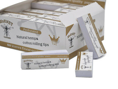 50 x Hornet Rolling Paper Filter Tips 50 leaves 60*21MM Natural White Unrefined