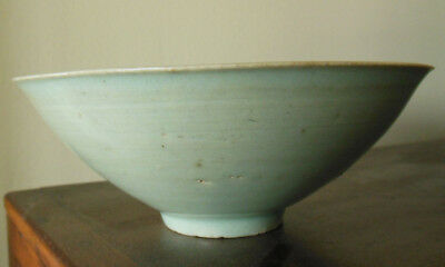 Antique chinese light green Song celadon bowl w clowds insicions & unglazed foot