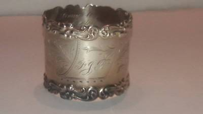 Antique Wilcox Sterling Silver Flower Scroll Napkin Ring