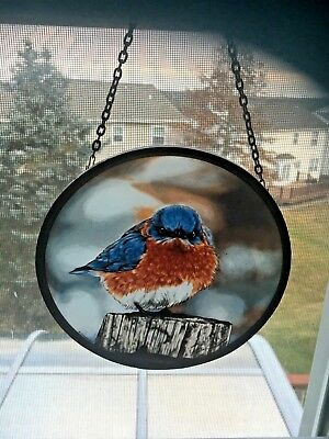 """Pair of Vintage Bird Stained Glass & Chain by Glassmasters James Hautman 6.5"""""""