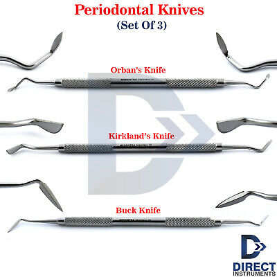 3Pcs Dental Periodontal Orban Buck Kirkland Knife Interproximal Tissue Excise CE