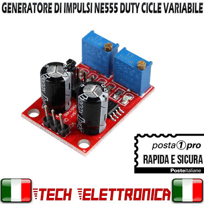 NE555 Generatore di impulsi onda quadra duty cycle variabile