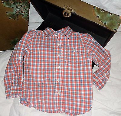 Baby Gap Orange Blue White Plaid Shirt Long Sleeve Size 4T