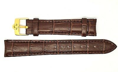 New 18mm Brown Genuine Leather Watch Strap / Gold Plated Buckle For Omega (S-6)