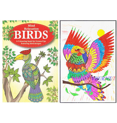 Adult Anti - Stress Colour Therapy - A4 Size Colouring Book - 48 Bird Designs