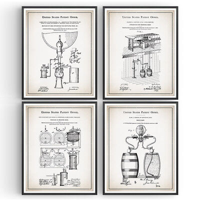Brewery Set of 4 Patent Prints Craft Beer Decor Vintage Poster Wall Art Gift