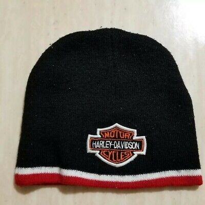 12839ef67fa8de Harley-Davidson Mens Embroidered Bar & Shield Knit Beanie Cap, Black and RED