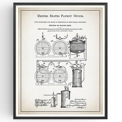 Making Beer Patent Print Brewery Rustic Decor Craft Bar Poster Wall Art Gift
