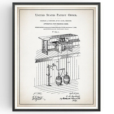 Drawing Beer Patent Print Brewery Rustic Decor Craft Bar Poster Wall Art Gift