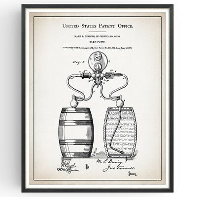 Beer Pump Patent Print Brewery Rustic Decor Craft Bar Poster Wall Art Gift