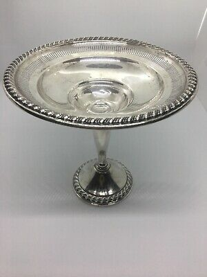 Rogers Sterling Silver Compote Pedestal Footed Dish Scroll & Pierced Design 1930