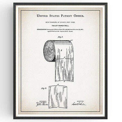 Toilet Paper Roll Patent Print Funny Vintage Decor Bathroom Poster Wall Art Gift