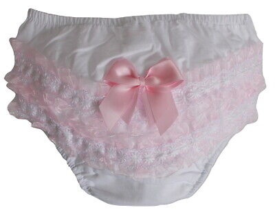Cotton Baby Girl Lace Frilly Pants Knickers Christening Occasion Diaper Cover