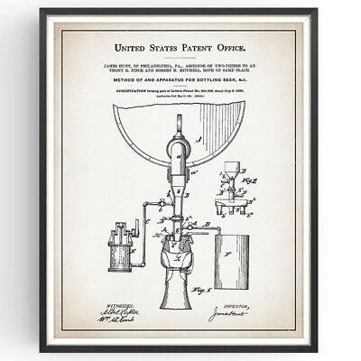 Beer Bottling Patent Print Brewery Rustic Decor Craft Bar Poster Wall Art Gift