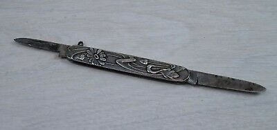 Antique Solid Silver Handles Flower Engraved Small Pocket Folding Knife 1900's