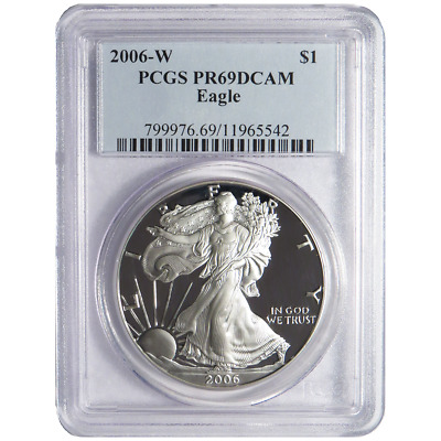 2006-W Proof $1 American Silver Eagle PCGS PR69DCAM Blue Label