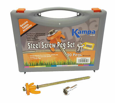 Kampa Steel Screw Peg Tent / Awning Hardstanding Rock Peg Set with Hex Drive