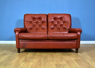 Mid Century Retro Vintage Danish Red Leather Highback 2 Seat Sofa Settee 60s 70s
