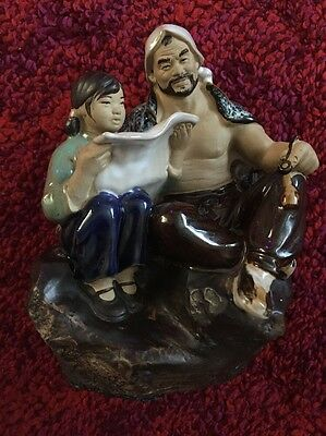 Chinese Wanjiang China Statue Figure Father & Daughter Ceramic 90x50cm Rare