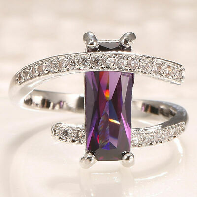 Women Fashion Alloy Princess Cut Alexdrite Ring Wedding Engagement Size5-10