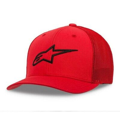 New Adult ALPINESTARS Cap Ageless Stretch Mesh Hat Red Black Motocross S M L XL