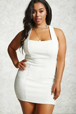 FOREVER 21 PLUS Size White Ribbed Bodycon Dress 3X - $26.99 | PicClick