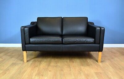Mid Century Modern Retro Danish Black Leather Mogensen Style 2 Seat Sofa Settee