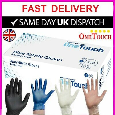100 Disposable Powder Free Latex Free Clear Vinyl Gloves Nitrile Black Blue