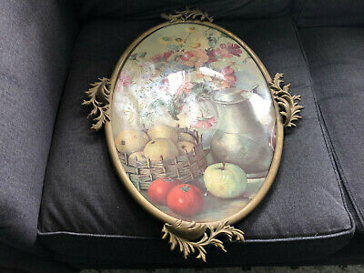 Vintage CONVEX GLASS Oval Ornate Metal Picture Frame LEAVES Still Life Pewter