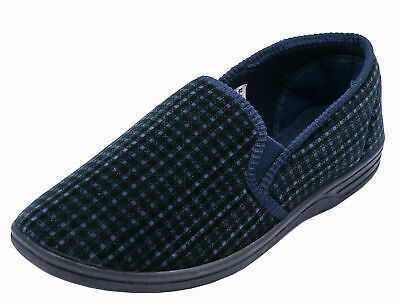 Mens Navy Comfortable Slippers Slip-On Indoor Outdoor Flat House Shoes Uk 5-11