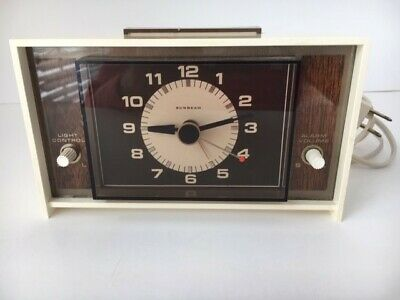 Vintage Sunbeam Electric Alarm Clock Model 428A Series B Works But Alarm May Not