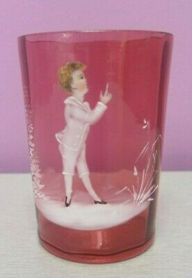 Mary Gregory Victorian Raspberry Glass Tumbler / Juice Glass Antique Boy
